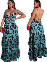 Vestido largo de tirantes sin espalda sexy con estampado de leopardo