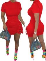 Mini vestido de verano en color liso con corbatas