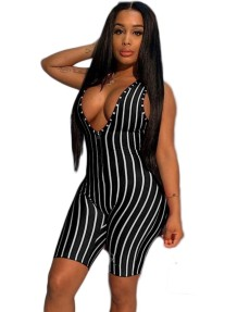 Sexy Striped Print Sleeveless Bodycon Rompers