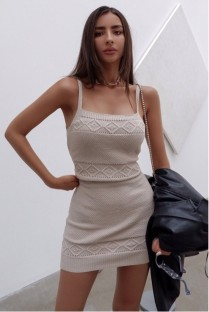 Summer Elegant Straps Knit Mini Dress