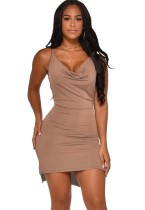 Solid Color Sexy Straps Kurzes Partykleid