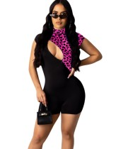 Print Leopard Cut Out Bodycon Strampler