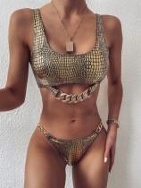 Traje de baño de cadenas de dos piezas metálicas doradas