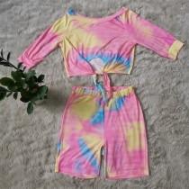 Sexy Tie Dye Zweiteilige Shorts Set