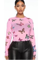 Sommerliches Schmetterlingsdruck-rosa Hemd