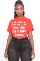 Sommer Print Orange Rundhals-Shirt