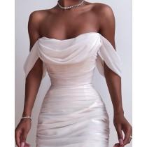 Vestido midi sin tirantes elegante blanco