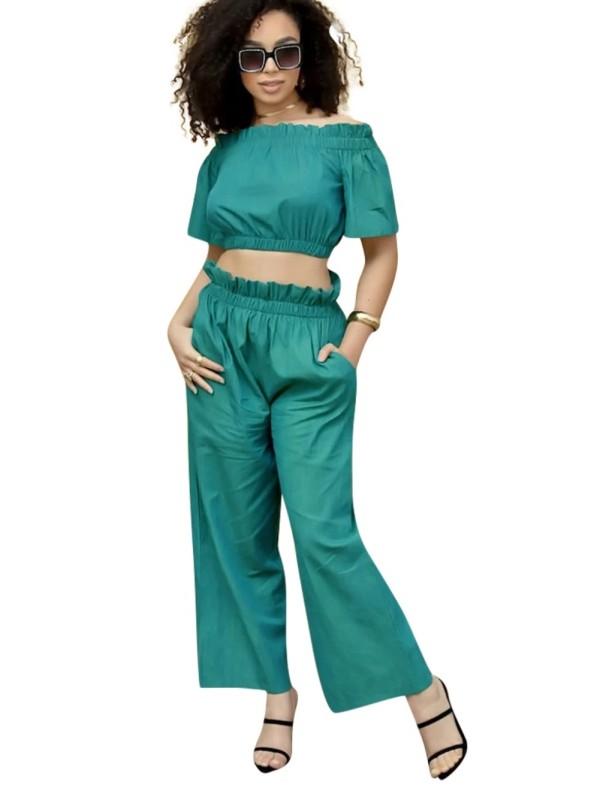 Conjunto de pantalones de volantes de dos piezas de verano verde