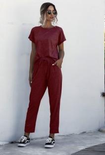 Einfarbige Sommer zweiteilige Pyjamahose Set