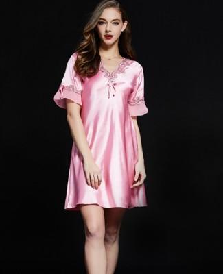 Lace Accent Satin Short Sleeve Pajama Dress