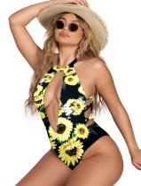Einteiliger sexy Badeanzug mit Blumendruck