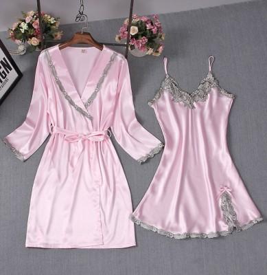Lace Accent Satin Two Piece Pajama Dress Set