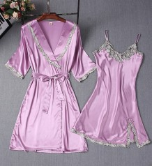 Lace Accent Satin Two Piece Pajama Dress Set