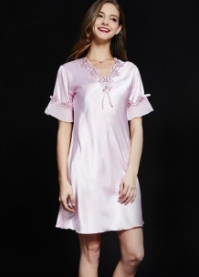 Lace Accent Satin Short Sleeve Pajama Dress