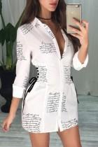 Robe chemisier blanche à lacets