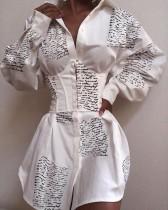 Robe chemisier corset blanche à manches pop