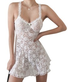 White Lace Sexy Straps Babydoll Lingerie
