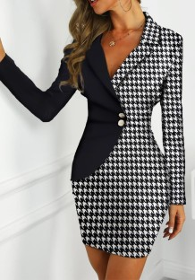 White and Black Print Blazer Dress with Sleeves