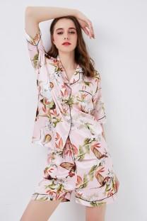 Frauen drucken zweiteilige Shorts Pyjama-Set