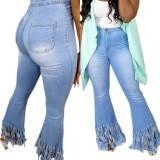 Vaqueros de borla de cintura alta azul sexy