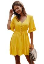 Summer Solid Color V-Neck Short Casual Dress
