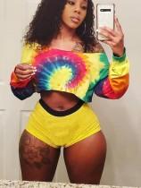 Conjunto de pantalones cortos de dos piezas sexy colorido africano