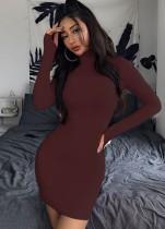 Vestido ajustado sexy de color sólido con mangas completas