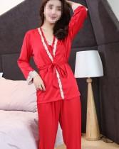 Elegante conjunto de pijama de pantalones de 3 piezas