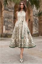 Print Retro Sleeveless Decent Long Dress