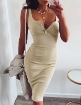 Vestido largo sin mangas de verano en color liso