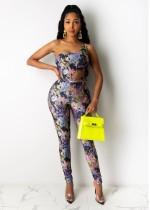Zomerprint Sexy bodysuit en broek met één schouder