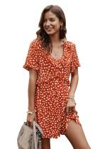 Verão de uma linha de impressão vestido curto com decote em v