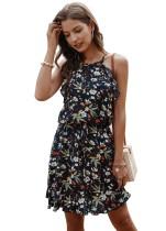 Summer Floral Short Halter Dress