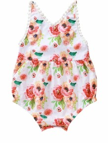 Baby Girl Summer Floral Bodysuit Rompers