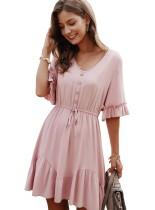 Verão cor sólida com decote em v curto vestido casual