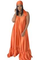 Vestido largo de verano con tirantes de color liso