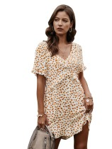 Summer A-line Print V-Neck Short Dress