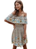 Summer Off Shoulder Floral Short Casual Dress