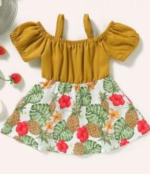 Vestido infantil de verão para menina com tiras florais