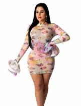 Afrikaanse kleurrijke sexy bodycon jurk met lange mouwen