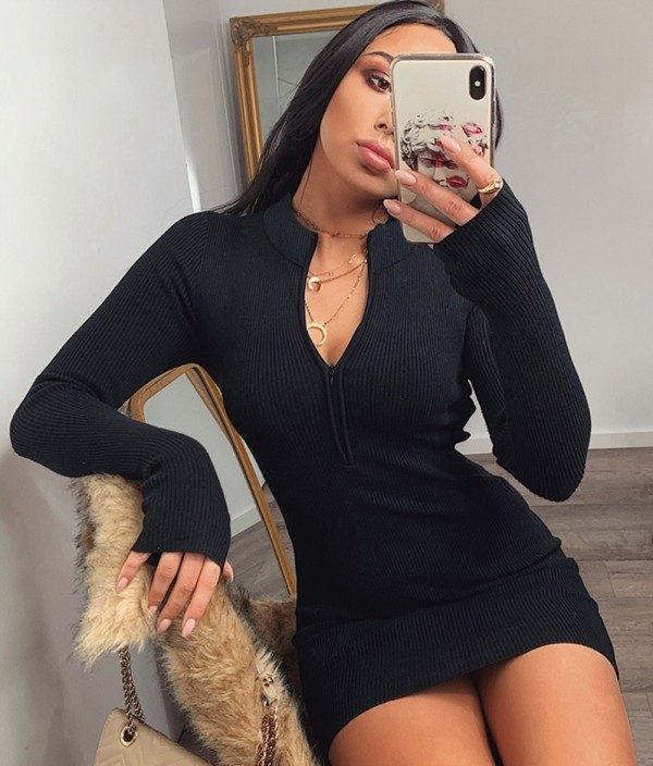 Sexy Knit Zipper Mini Dress with Sleeves