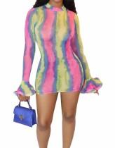 Afrikanisches buntes sexy langärmliges figurbetontes Kleid