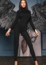 Schwarzer, sexy Bodycon-Overall mit langen Ärmeln