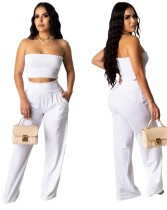 Conjunto de top y pantalones sin tirantes blanco sexy