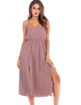 Vestido largo sin mangas con estampado de verano