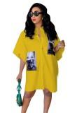 Vestido de blusa suelta con estampado de personajes de verano