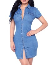 Robe moulante en denim bleue boutonnée sexy