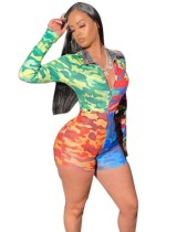 Africain Sexy à manches longues Camou Bodycon Rompers