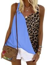 Chemise à bretelles imprimé léopard d'été