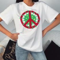 サマープリントホワイトラウンドネックシャツ